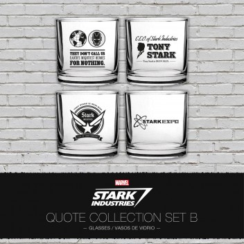 4 GLASSES STARK INDUSTRIES QUOTES MARVEL SET 2