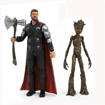 THOR & GROOT ACTION FIGURE - MARVEL SELECT